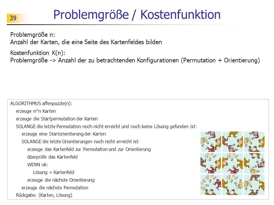 39 Problemgröße / Kostenfunktion Problemgröße n: Anzahl der Karten, die eine Seite des Kartenfeldes bilden Kostenfunktion K(n): Problemgröße -> Anzahl der zu betrachtenden Konfigurationen (Permutation + Orientierung) ALGORITHMUS affenpuzzle(n): erzeuge n*n Karten erzeuge die Startpermutation der Karten SOLANGE die letzte Permutation noch nicht erreicht und noch keine Lösung gefunden ist: erzeuge eine Startorientierung der Karten SOLANGE die letzte Orientierungen noch nicht erreicht ist: erzeuge das Kartenfeld zur Permutation und zur Orientierung überprüfe das Kartenfeld WENN ok: Lösung = Kartenfeld erzeuge die nächste Orientierung erzeuge die nächste Permutation Rückgabe: (Karten, Lösung)