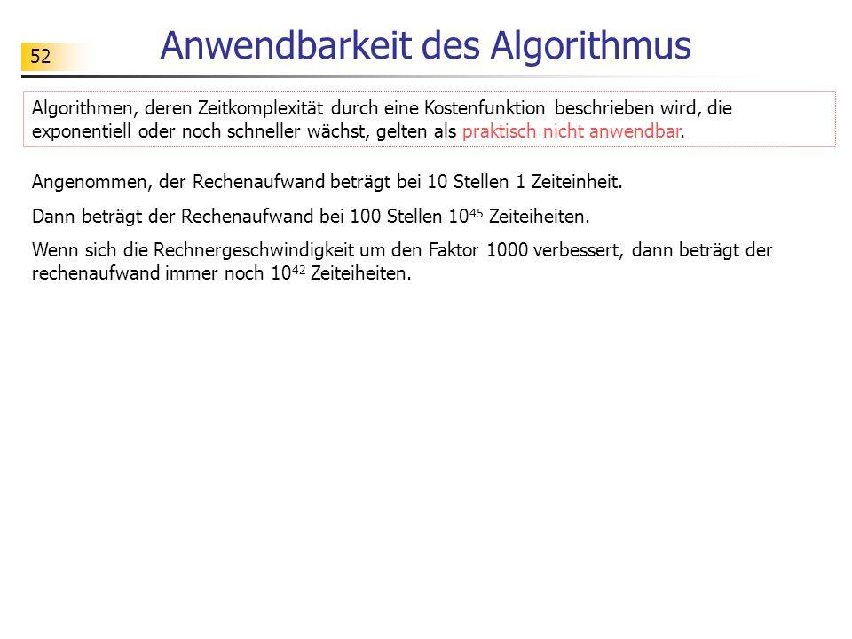 52 Anwendbarkeit des Algorithmus Angenommen, der Rechenaufwand beträgt bei 10 Stellen 1 Zeiteinheit.