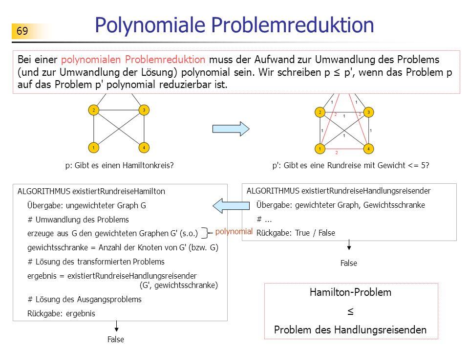 69 Polynomiale Problemreduktion p: Gibt es einen Hamiltonkreis?p : Gibt es eine Rundreise mit Gewicht <= 5.