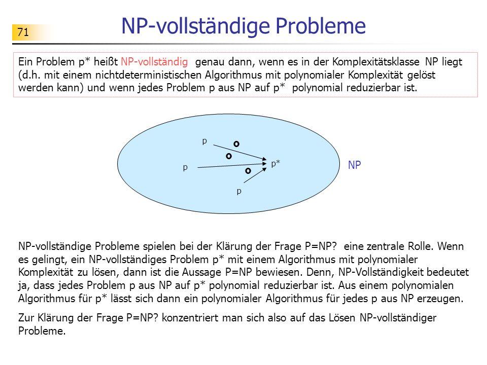 71 NP-vollständige Probleme Ein Problem p* heißt NP-vollständig genau dann, wenn es in der Komplexitätsklasse NP liegt (d.h.