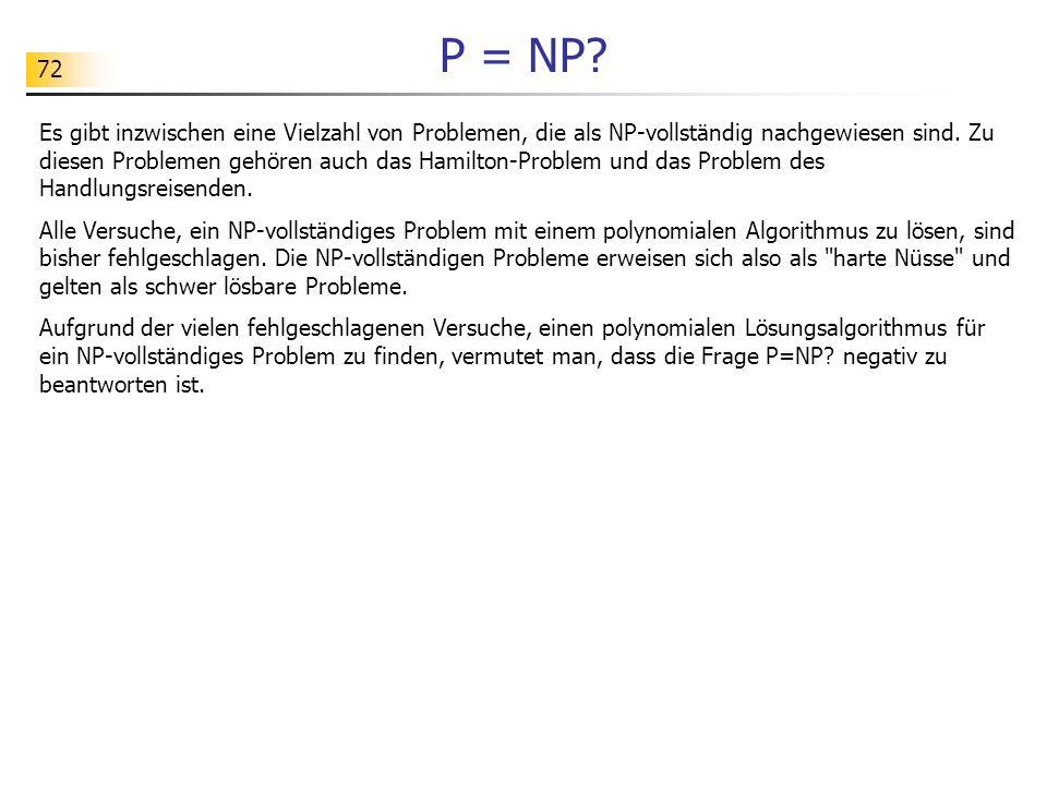 72 P = NP.