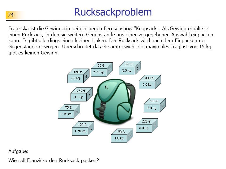74 Rucksackproblem Franziska ist die Gewinnerin bei der neuen Fernsehshow Knapsack .