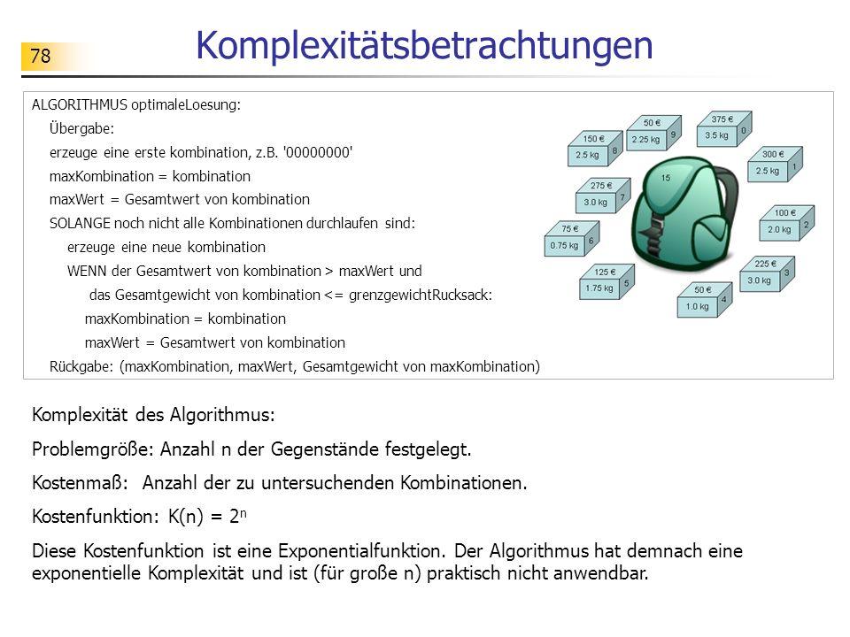 78 Komplexitätsbetrachtungen Komplexität des Algorithmus: Problemgröße: Anzahl n der Gegenstände festgelegt.