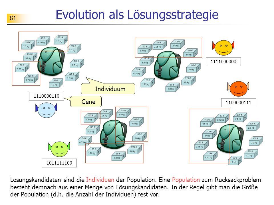 81 Evolution als Lösungsstrategie Lösungskandidaten sind die Individuen der Population.