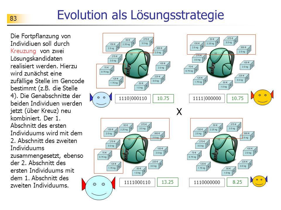 83 Evolution als Lösungsstrategie Die Fortpflanzung von Individiuen soll durch Kreuzung von zwei Lösungskandidaten realisiert werden.