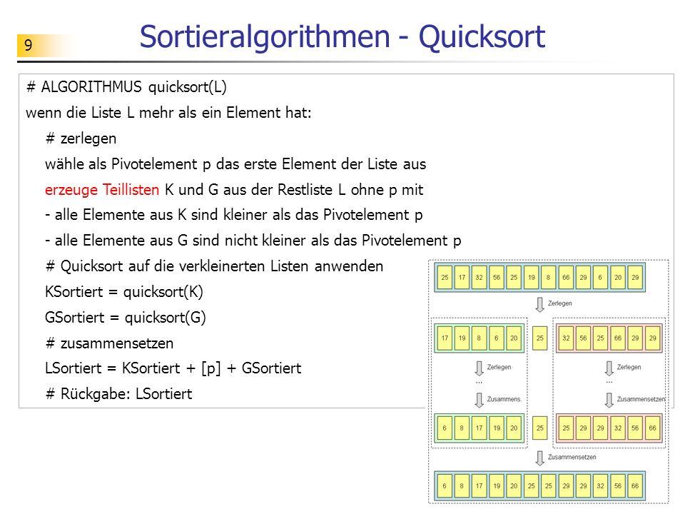 9 # ALGORITHMUS quicksort(L) wenn die Liste L mehr als ein Element hat: # zerlegen wähle als Pivotelement p das erste Element der Liste aus erzeuge Teillisten K und G aus der Restliste L ohne p mit - alle Elemente aus K sind kleiner als das Pivotelement p - alle Elemente aus G sind nicht kleiner als das Pivotelement p # Quicksort auf die verkleinerten Listen anwenden KSortiert = quicksort(K) GSortiert = quicksort(G) # zusammensetzen LSortiert = KSortiert + [p] + GSortiert # Rückgabe: LSortiert Sortieralgorithmen - Quicksort