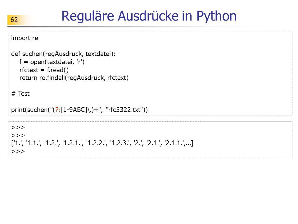 63 Übungen Aufgaben: Besorge dir die RFC 5322 und teste die oben gezeigten Suchoperationen.