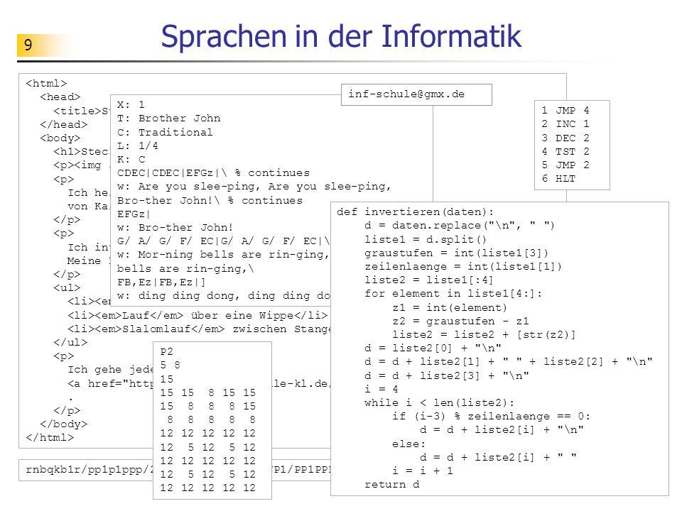 10 Aufgabe Aufgabe: Darstellung und Verarbeitung von Bildern Was leistet die Sprache PGM.