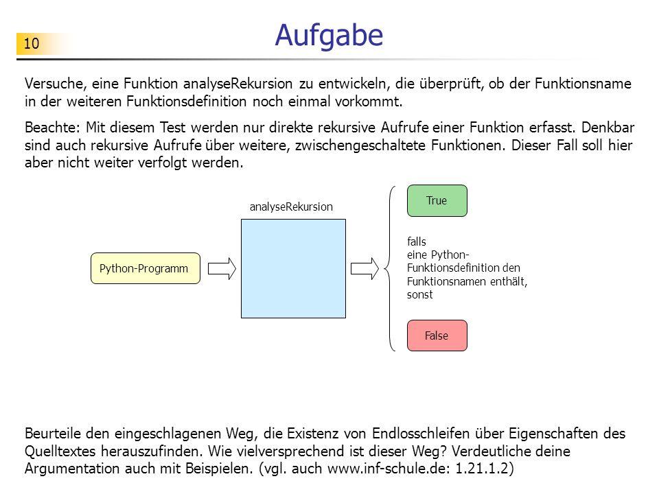 10 Aufgabe Versuche, eine Funktion analyseRekursion zu entwickeln, die überprüft, ob der Funktionsname in der weiteren Funktionsdefinition noch einmal
