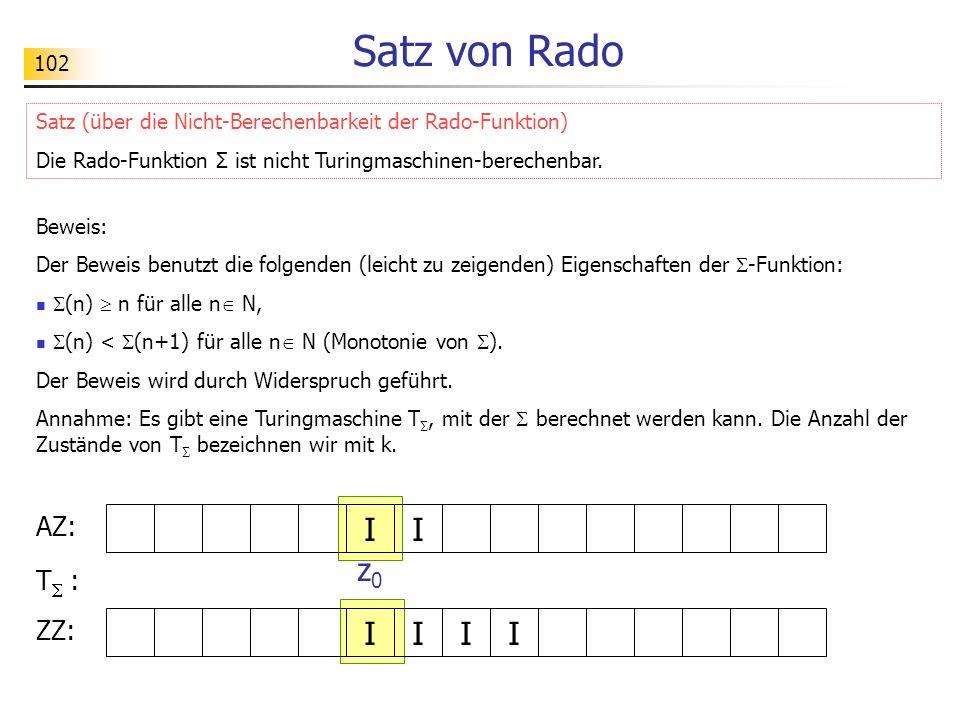 102 Satz von Rado Beweis: Der Beweis benutzt die folgenden (leicht zu zeigenden) Eigenschaften der -Funktion: (n) n für alle n N, (n) < (n+1) für alle