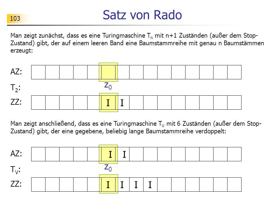 103 Satz von Rado Man zeigt zunächst, dass es eine Turingmaschine T n mit n+1 Zuständen (außer dem Stop- Zustand) gibt, der auf einem leeren Band eine