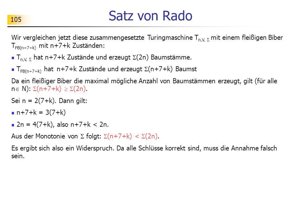 105 Satz von Rado Wir vergleichen jetzt diese zusammengesetzte Turingmaschine T n,V, mit einem fleißigen Biber T FB(n+7+k) mit n+7+k Zuständen: T n,V,