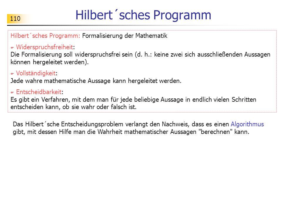 110 Hilbert´sches Programm Hilbert´sches Programm: Formalisierung der Mathematik Widerspruchsfreiheit: Die Formalisierung soll widerspruchsfrei sein (