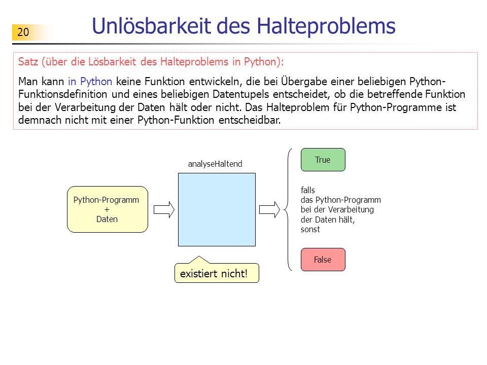 20 Unlösbarkeit des Halteproblems Satz (über die Lösbarkeit des Halteproblems in Python): Man kann in Python keine Funktion entwickeln, die bei Überga