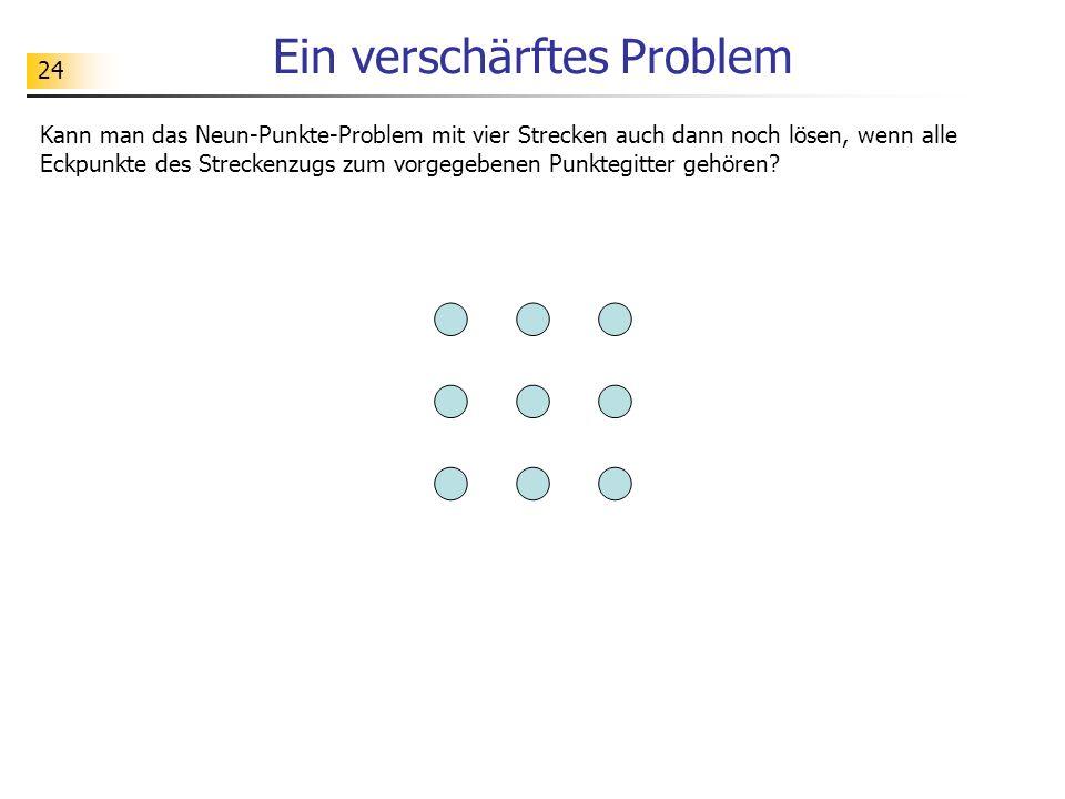 24 Ein verschärftes Problem Kann man das Neun-Punkte-Problem mit vier Strecken auch dann noch lösen, wenn alle Eckpunkte des Streckenzugs zum vorgegeb