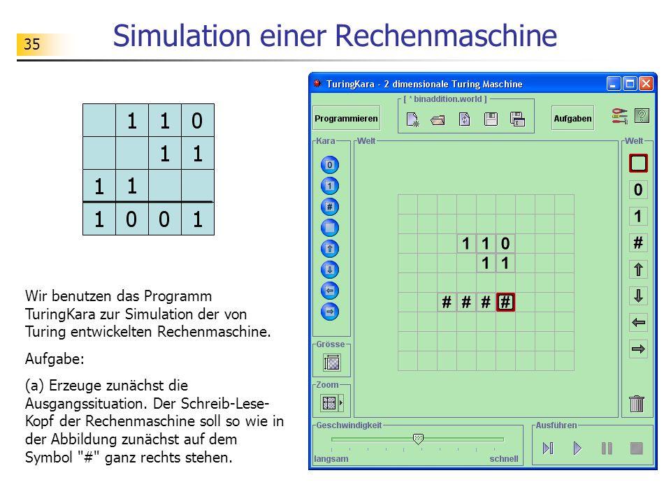 35 Simulation einer Rechenmaschine Wir benutzen das Programm TuringKara zur Simulation der von Turing entwickelten Rechenmaschine. Aufgabe: (a) Erzeug