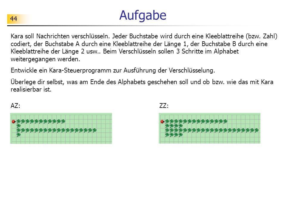 44 Aufgabe Kara soll Nachrichten verschlüsseln. Jeder Buchstabe wird durch eine Kleeblattreihe (bzw. Zahl) codiert, der Buchstabe A durch eine Kleebla