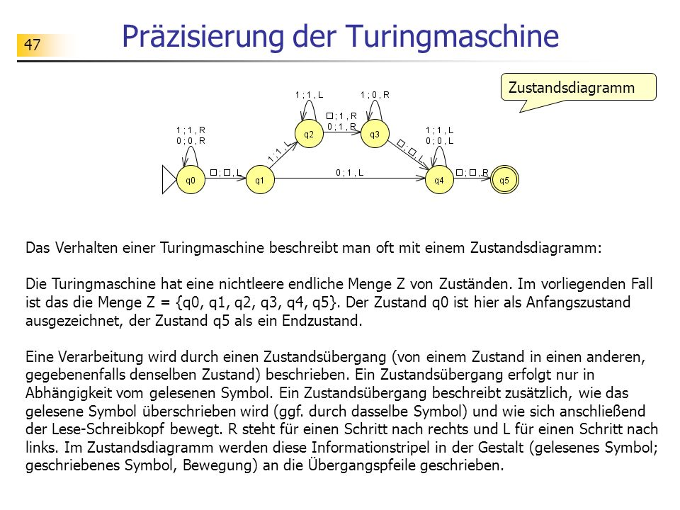 47 Präzisierung der Turingmaschine Das Verhalten einer Turingmaschine beschreibt man oft mit einem Zustandsdiagramm: Die Turingmaschine hat eine nicht