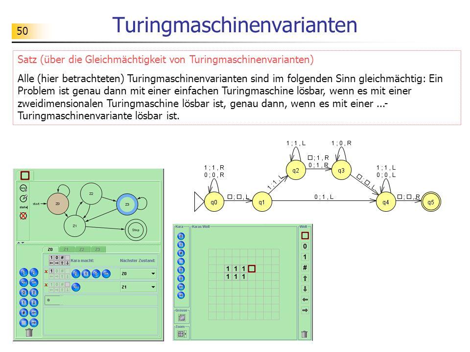 50 Turingmaschinenvarianten Satz (über die Gleichmächtigkeit von Turingmaschinenvarianten) Alle (hier betrachteten) Turingmaschinenvarianten sind im f