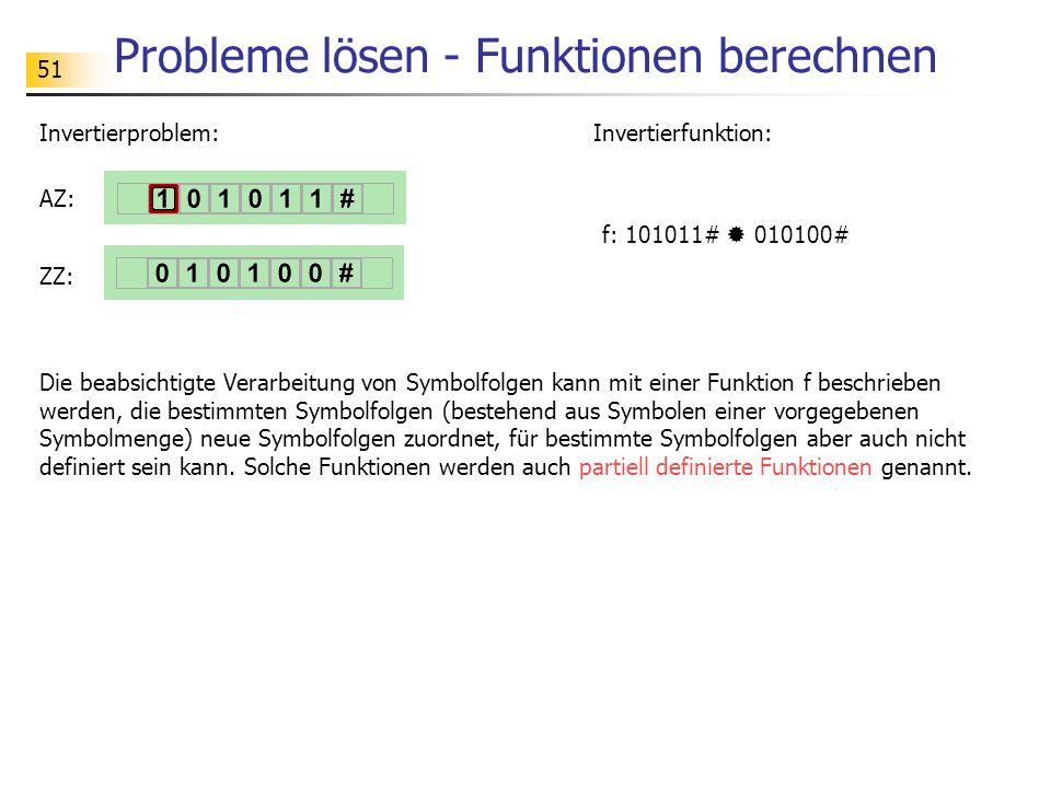 51 Probleme lösen - Funktionen berechnen Die beabsichtigte Verarbeitung von Symbolfolgen kann mit einer Funktion f beschrieben werden, die bestimmten