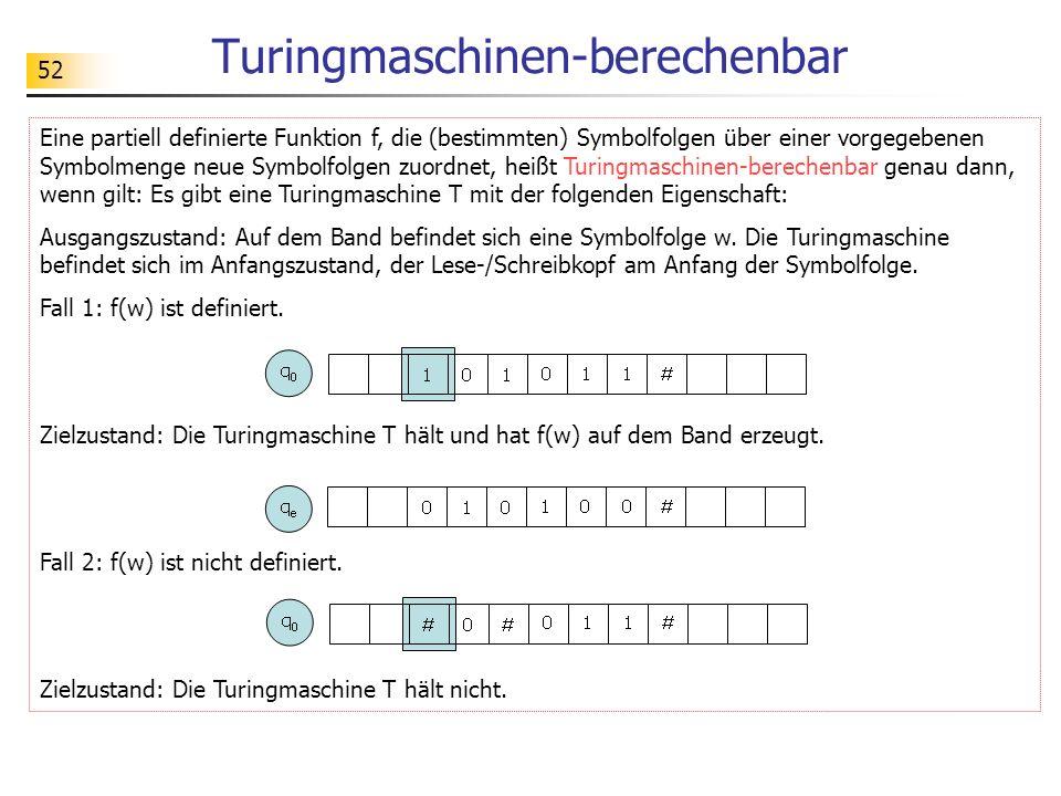 52 Turingmaschinen-berechenbar Eine partiell definierte Funktion f, die (bestimmten) Symbolfolgen über einer vorgegebenen Symbolmenge neue Symbolfolge