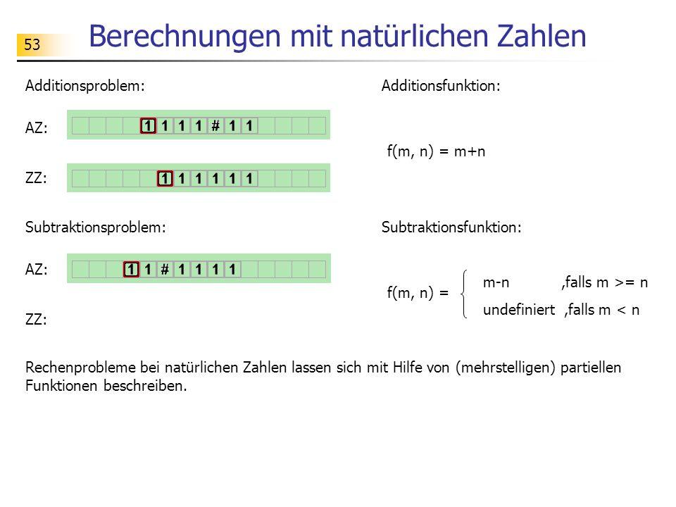 53 Berechnungen mit natürlichen Zahlen Rechenprobleme bei natürlichen Zahlen lassen sich mit Hilfe von (mehrstelligen) partiellen Funktionen beschreib