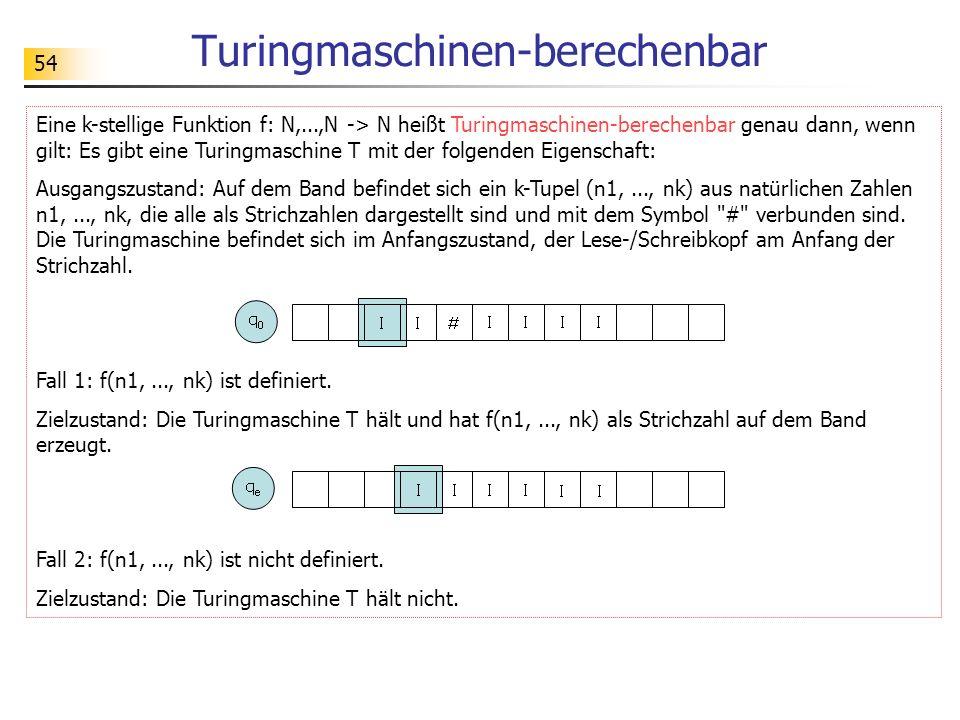 54 Turingmaschinen-berechenbar Eine k-stellige Funktion f: N,...,N -> N heißt Turingmaschinen-berechenbar genau dann, wenn gilt: Es gibt eine Turingma