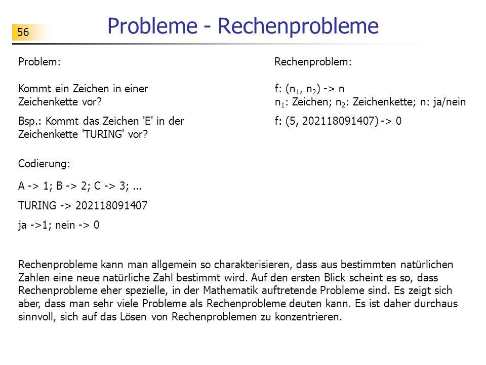 56 Probleme - Rechenprobleme Rechenprobleme kann man allgemein so charakterisieren, dass aus bestimmten natürlichen Zahlen eine neue natürliche Zahl b