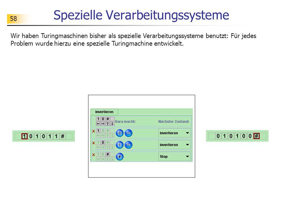 58 Spezielle Verarbeitungssysteme Wir haben Turingmaschinen bisher als spezielle Verarbeitungssysteme benutzt: Für jedes Problem wurde hierzu eine spe