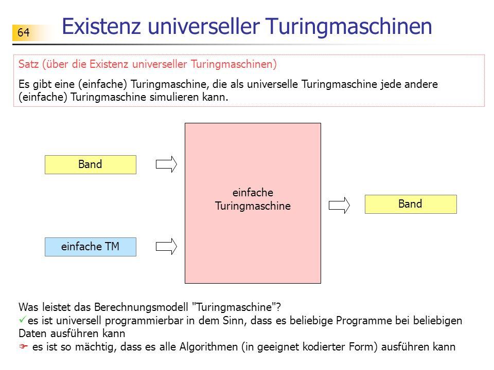 64 Existenz universeller Turingmaschinen Band einfache TM Band einfache Turingmaschine Satz (über die Existenz universeller Turingmaschinen) Es gibt e