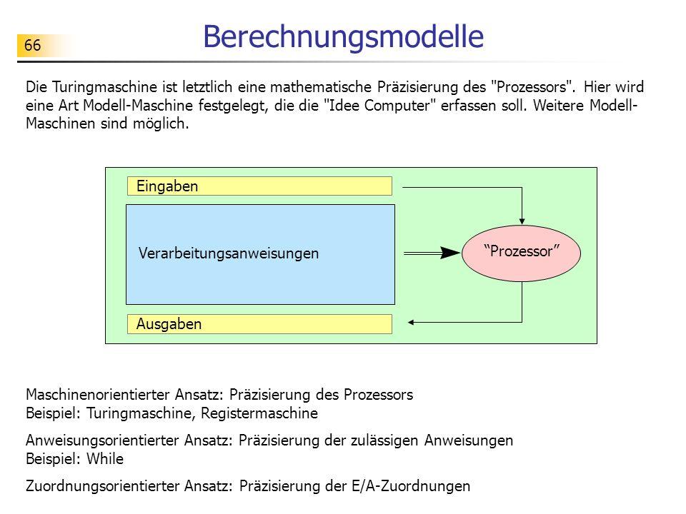 66 Berechnungsmodelle Die Turingmaschine ist letztlich eine mathematische Präzisierung des