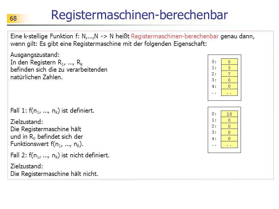 68 Registermaschinen-berechenbar Eine k-stellige Funktion f: N,...,N -> N heißt Registermaschinen-berechenbar genau dann, wenn gilt: Es gibt eine Regi