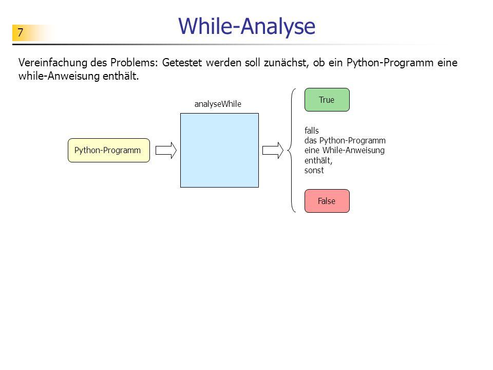 7 While-Analyse Vereinfachung des Problems: Getestet werden soll zunächst, ob ein Python-Programm eine while-Anweisung enthält. falls das Python-Progr