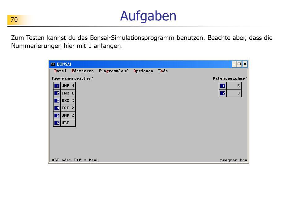 70 Aufgaben Zum Testen kannst du das Bonsai-Simulationsprogramm benutzen. Beachte aber, dass die Nummerierungen hier mit 1 anfangen.