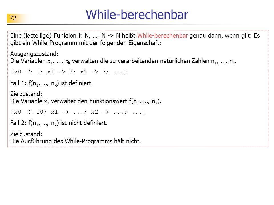 72 While-berechenbar Eine (k-stellige) Funktion f: N,..., N -> N heißt While-berechenbar genau dann, wenn gilt: Es gibt ein While-Programm mit der fol