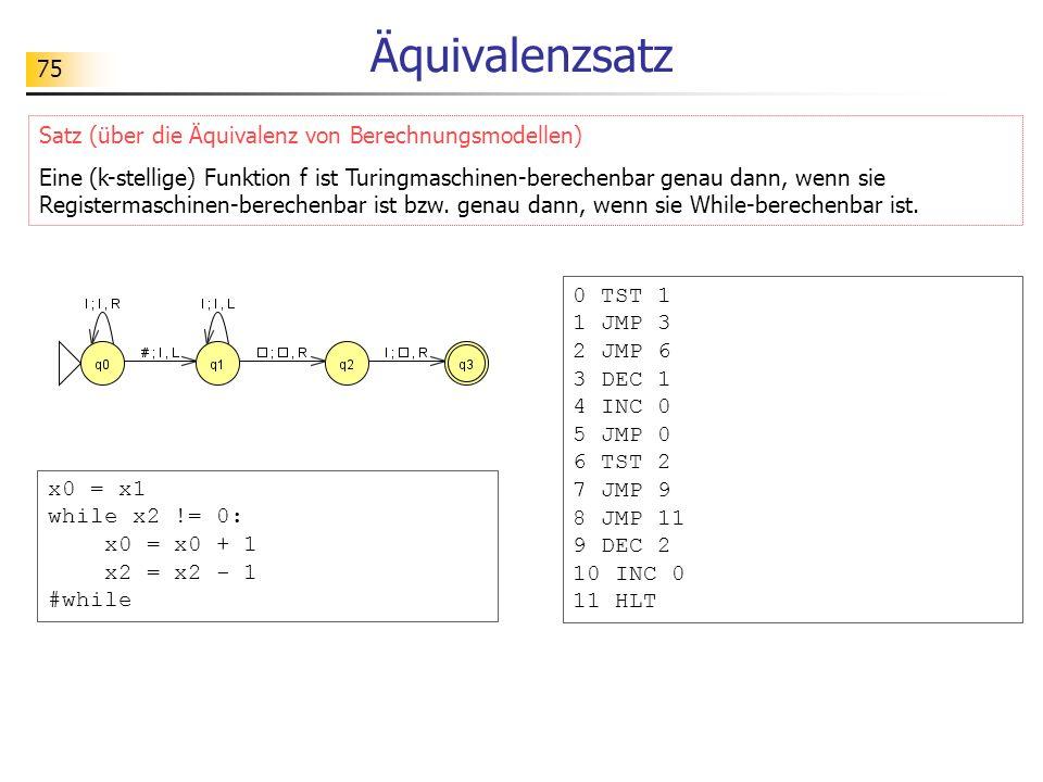 75 Äquivalenzsatz Satz (über die Äquivalenz von Berechnungsmodellen) Eine (k-stellige) Funktion f ist Turingmaschinen-berechenbar genau dann, wenn sie