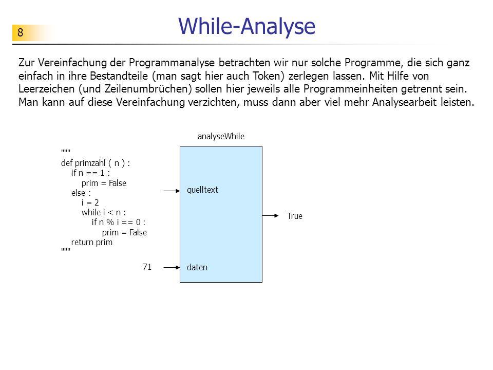 8 While-Analyse Zur Vereinfachung der Programmanalyse betrachten wir nur solche Programme, die sich ganz einfach in ihre Bestandteile (man sagt hier a