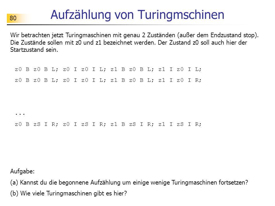 80 Aufzählung von Turingmschinen Wir betrachten jetzt Turingmaschinen mit genau 2 Zuständen (außer dem Endzustand stop). Die Zustände sollen mit z0 un