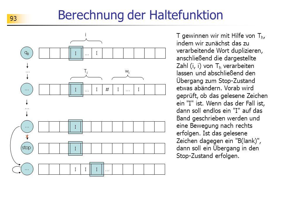 93 Berechnung der Haltefunktion T gewinnen wir mit Hilfe von T h, indem wir zunächst das zu verarbeitende Wort duplizieren, anschließend die dargestel