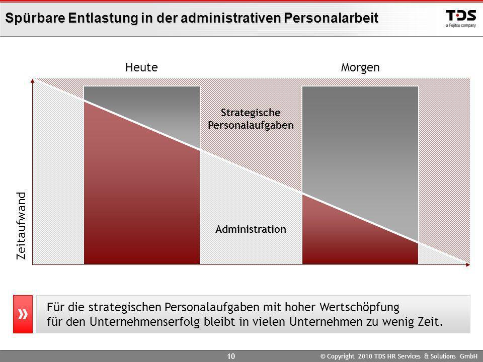© Copyright 2010 TDS HR Services & Solutions GmbH 10 Spürbare Entlastung in der administrativen Personalarbeit Für die strategischen Personalaufgaben