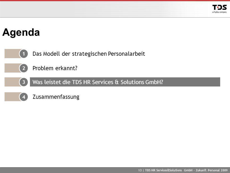 13 | TDS HR Services&Solutions GmbH – Zukunft Personal 2009 Agenda 1 Das Modell der strategischen Personalarbeit 2 Problem erkannt? 4 Zusammenfassung