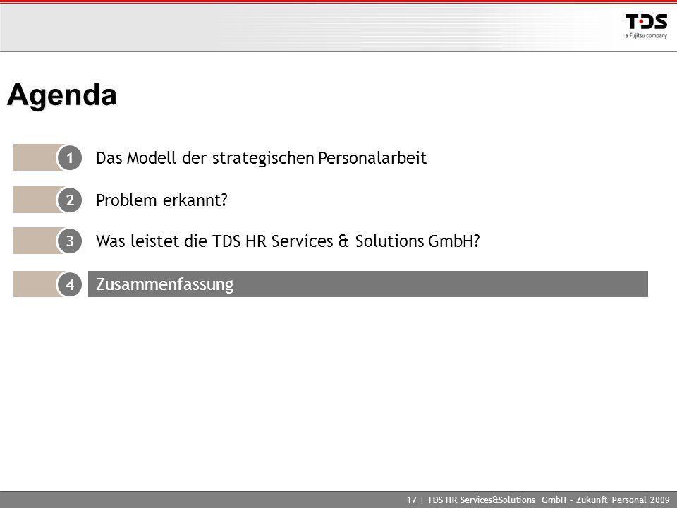 17 | TDS HR Services&Solutions GmbH – Zukunft Personal 2009 Agenda 1 Das Modell der strategischen Personalarbeit 2 Problem erkannt? 4 Zusammenfassung