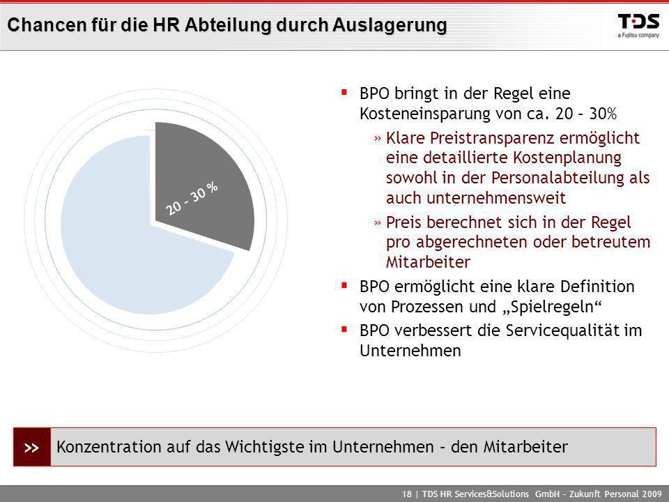Chancen für die HR Abteilung durch Auslagerung 18 | TDS HR Services&Solutions GmbH – Zukunft Personal 2009 BPO bringt in der Regel eine Kosteneinsparu