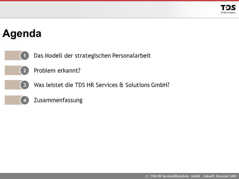 2 | TDS HR Services&Solutions GmbH – Zukunft Personal 2009 Agenda 1 Das Modell der strategischen Personalarbeit 2 Problem erkannt? 4 Zusammenfassung 3