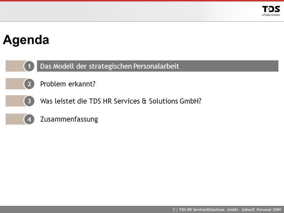 3 | TDS HR Services&Solutions GmbH – Zukunft Personal 2009 Agenda 1 Das Modell der strategischen Personalarbeit 2 Problem erkannt? 4 Zusammenfassung 3