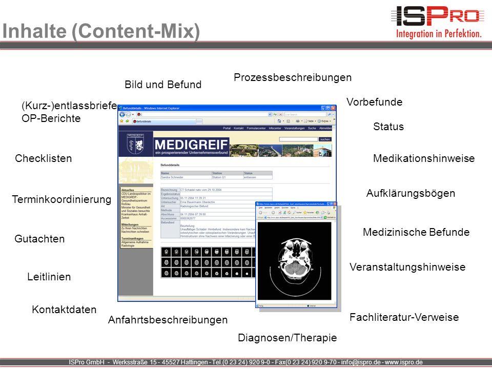 ISPro GmbH - Werksstraße 15 - 45527 Hattingen - Tel.(0 23 24) 920 9-0 - Fax(0 23 24) 920 9-70 - info@ispro.de - www.ispro.de Inhalte (Content-Mix) Sta