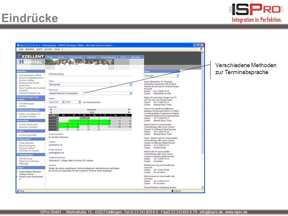ISPro GmbH - Werksstraße 15 - 45527 Hattingen - Tel.(0 23 24) 920 9-0 - Fax(0 23 24) 920 9-70 - info@ispro.de - www.ispro.de Eindrücke Verschiedene Me