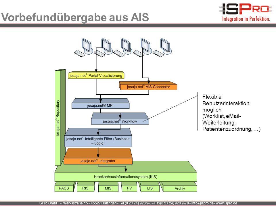 ISPro GmbH - Werksstraße 15 - 45527 Hattingen - Tel.(0 23 24) 920 9-0 - Fax(0 23 24) 920 9-70 - info@ispro.de - www.ispro.de Vorbefundübergabe aus AIS