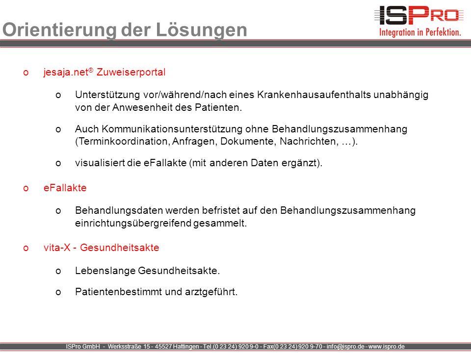 ISPro GmbH - Werksstraße 15 - 45527 Hattingen - Tel.(0 23 24) 920 9-0 - Fax(0 23 24) 920 9-70 - info@ispro.de - www.ispro.de Orientierung der Lösungen