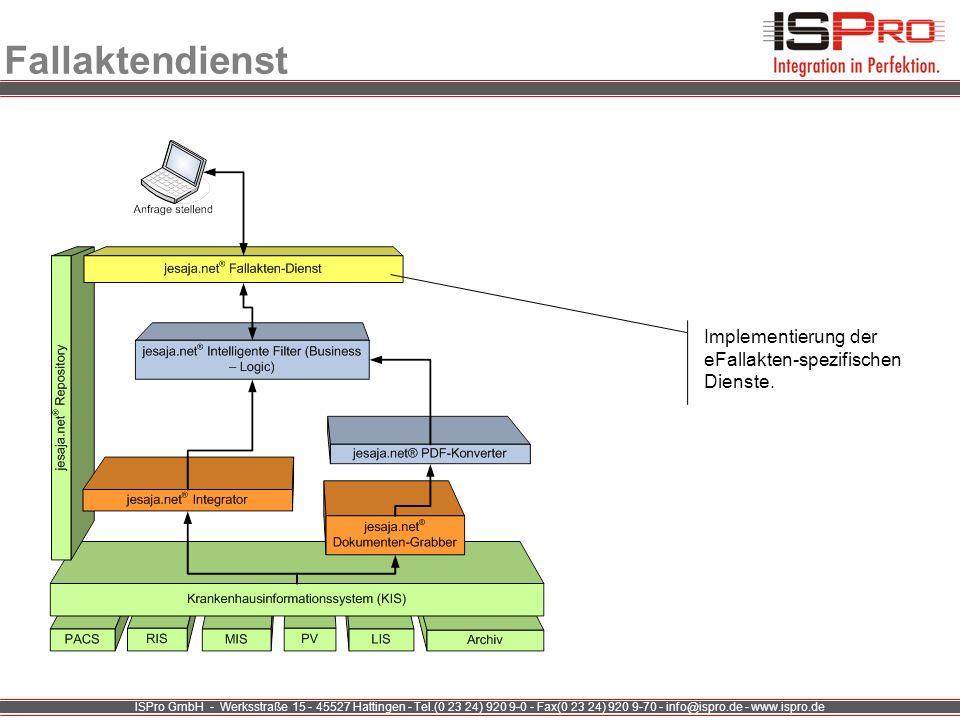 ISPro GmbH - Werksstraße 15 - 45527 Hattingen - Tel.(0 23 24) 920 9-0 - Fax(0 23 24) 920 9-70 - info@ispro.de - www.ispro.de Fallaktendienst Implement